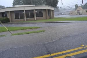 Chattooga County Civic Center has road covered in water